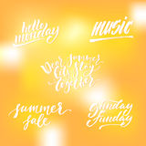 Small summer lettering set. Small summer handdrawn lettering set. Modern calligraphy. Ink illustration. Design for banner, poster, card, invitation, flyer Royalty Free Stock Images