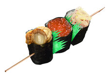 Small sushi in stick. Creative sushi stick together in roll Royalty Free Stock Image