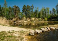 Small swamped quarry with stone, water, trees and blue sky, Czech republic royalty free stock photography