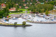 Small swedish village in Stockholm suburb Royalty Free Stock Photo
