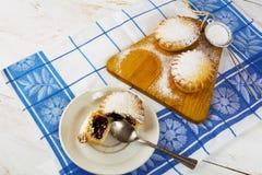 Small sweet pie with jam Stock Photos