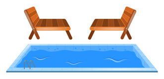 Small swimming pool and two seats Royalty Free Stock Photo