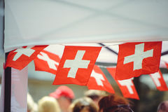Small swiss flags Royalty Free Stock Photos