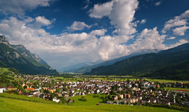 Small Swiss town in Alps. Walenstadt Royalty Free Stock Photography