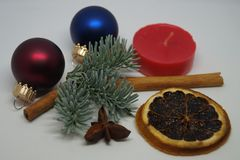 Christmas table Decoration with a little Santa Royalty Free Stock Photography