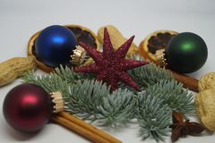 Christmas table Decoration with a little Santa Stock Images