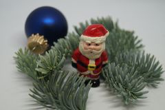 Christmas table Decoration with a little Santa Stock Photo
