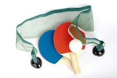 Small table tennis rackets with ball and net Stock Images