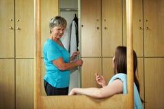 Small talk in locker room Stock Photography