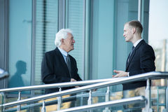 Small talk outside the business centre stock photography