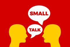 Small talk / Smalltalk. Informal communication and talking between two people. Socialization of persons through language and verbal interaction. Vector vector illustration