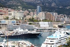 Luxury yachts along Riviera in Monaco city Royalty Free Stock Images