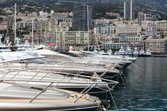 Big yachts in Hercules Port, Monaco city Stock Images