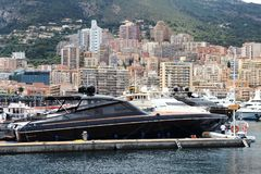Big yachts in Hercules Port in Monaco city Stock Photography