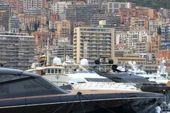 Big yachts in Hercules Port of Monaco city Royalty Free Stock Photography