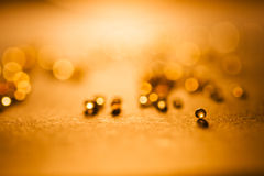 Small, tansparent balls abstract with bokeh and orange Stock Photography