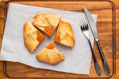 Small tart pie with persimmon and peach jam, french galette. Royalty Free Stock Image