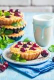 Small tarts with fresh cherries Stock Photo