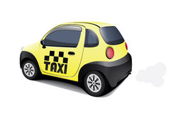 Small taxi car  on white background. Vector mini yellow machine with taxi sign Royalty Free Stock Images