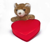 Small teddy bear with a gift box in heart shape isolated Stock Photo