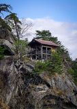 Mountain scenery of Yamadera, Japan. A small temple on mountain in Yamadera, Japan. Yamadera is a scenic temple located in the mountains northeast of Yamagata Stock Photography