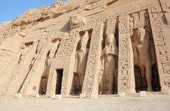 The Small Temple of Nefertari. Abu Simbel, Egypt. Royalty Free Stock Photo