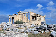 Small temple on the top of acropolis in athens greece photography Royalty Free Stock Images