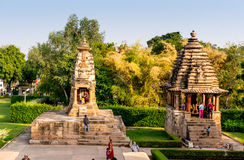 Small temples at the Khajurao site in India Stock Photos