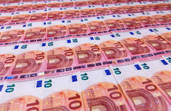 Small ten euro bills layer in low angle perspective Stock Image