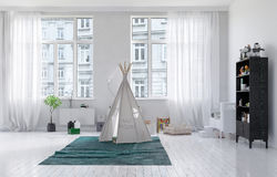 Small tepee in a kids playroom interior Stock Images