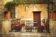 Small terrace in Rome, Italy Royalty Free Stock Photo