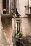Small terraces and closed windows on small homes Royalty Free Stock Image