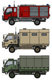 Small terrain trucks. Hand drawing of three small terrain trucks Stock Image