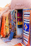 Small textile shop in loam hut in the middle of the desert Stock Image