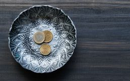 Small textured metal plate with euro coins on a Royalty Free Stock Photos