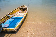 Small Thai Fishing Boat on Sand Beach Background Royalty Free Stock Photo