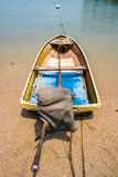 Small Thailand Fishing Boat on Sand Beach Stock Photo