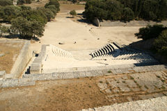 Small theatre near Apollo Temple at the Acropolis of Rhodes Royalty Free Stock Image