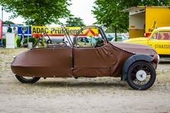 Small three-wheeled car Velorex 16/250, 1960. PAAREN IM GLIEN, GERMANY - JUNE 03, 2017: Small three-wheeled car Velorex 16/250, 1960. Exhibition `Die Oldtimer Royalty Free Stock Photos