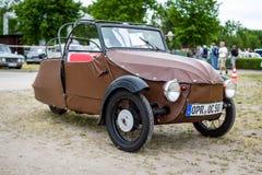 Small three-wheeled car Velorex 16/250, 1960. PAAREN IM GLIEN, GERMANY - JUNE 03, 2017: Small three-wheeled car Velorex 16/250, 1960. Exhibition `Die Oldtimer Royalty Free Stock Images