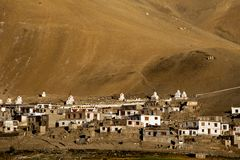 Small Tibetan village in Himalaya mountains. India Stock Photo