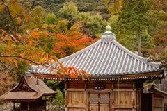 Small Timber Buildings at Kiyomizu-dera Temple, Kyoto, Japan. Small timber buildings with the specific Japanese roofs, on a autumn forest background, at Kiyomizu royalty free stock image