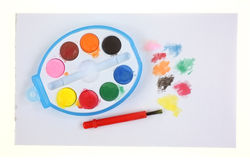 Toy Paint Set Brush Splatters Royalty Free Stock Photography