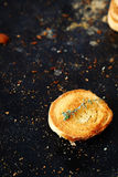 Small toast on black board Royalty Free Stock Photography