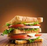 Small toast sandwich on wooden table Stock Photo