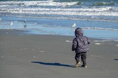 Toddler Child on the Beach in Winter stock photography