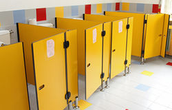 Small toilet doors of a nursery Stock Photo