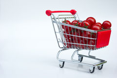 Small Tomatoes in Shopping Cart Stock Image