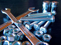 Small tools. Keys, bolts and nuts used at repair of the mechanical nodes Stock Images