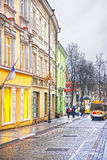 Small Tourist Bus in Pilies Street in the Old Town of Vilnius in Stock Photo